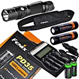 Fenix PD35 TAC Edition 1000 Lumen CREE XP-L LED Tactical Flashlight, Fenix ARE-C2 four bays Li-ion/ Ni-MH advanced universal home/car smart battery charger, Two Fenix 18650 ARB-L2S 3400mAh rechargeable batteries with Two EdisonBright CR123A Lithium Batteries