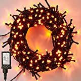 LJLNION 300 LED Indoor Fairy Halloween String Lights, 98.5FT 8 Lighting Modes Light, Plug in String Waterproof Mini Lights for Outdoor Holiday Christmas Wedding Party Bedroom Decorations (Orange)