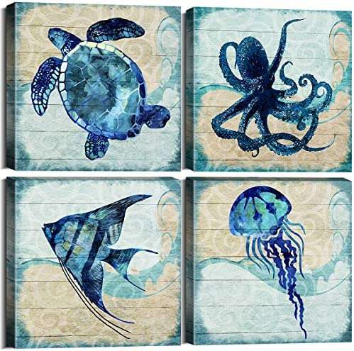 Ocean Animal Theme Teal Home Wall Art Decor Blue Mediterranean Style Canvas Prints Framed Stretched product image