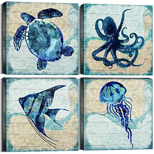 Ocean Home Decor Beach Marine Theme Bathroom Wall Art Teal Blue Mediterranean Style Watercolor Canvas Prints Painting Sea Animal Turtle Octopus Framed Stretched Pictures Set of 4 Panels 12 x 12 Inch