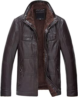 Lentta Men's Winter Thick Sherpa Lined Faux PU Leather Thermal Shearling Jacket