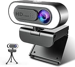 Webカメラ マイク内蔵-ZZCP HD 1080Pウェブカメラ 三脚取付 ライト付き プライカバー 可能 オートフォーカス 美顔機能 パソコンカメラ ビデオ通話 Skype会議用PCカメラ 在宅勤務必要 プラグアンドプレイ Windows X...