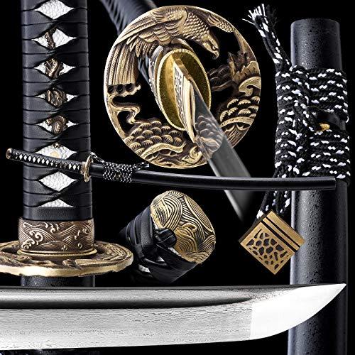 entez Damascus Katana,Full Tang Samurai Sword,Battle Ready Katana,1095 Sword,Damascus Folded...