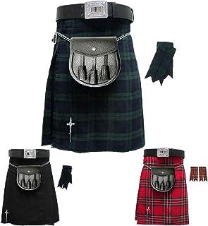 Scottish Men's Kilt Traditional Highland Dress Skirt/Kilt Pin/Belt Buckle/Sporran/Flashes 6 Pcs Kilts Set