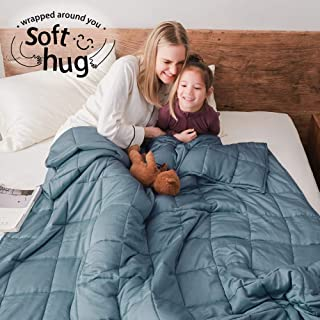 Dornroscn Bamboo Weighted Blanket with 100% Pure Natural Bamboo Viscose | 15lbs-60''x80''-Twin Size Bed for Adults | Cooli...