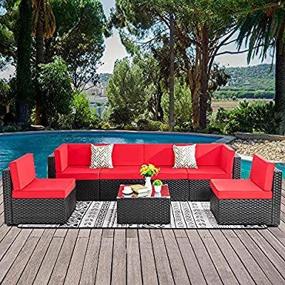 Walsunny 7 Pieces Patio Outdoor Furniture Sets,Low Back All-Weather Rattan Sectional Sofa with Tea Table&Washable Couch Cushions (Black Rattan)(Red)