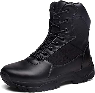 SILENTCARE Men's Military Tactical Boots Full Grain Leather Police Duty Waterproof Boots with Side Zipper