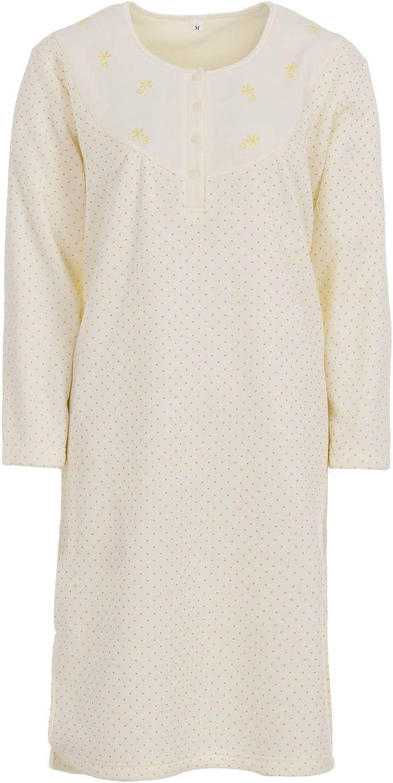 Camisa de Dormir para Mujer Ropa de Dormir Camis/ón Manga Largo Invierno LUCKY