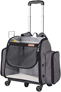 Cat Carrier, Deluxe Upgraded Backpack Pet Travel Carrier Backpack with Wheels, Foldable Dog Stroller with Collapsible Bowl...
