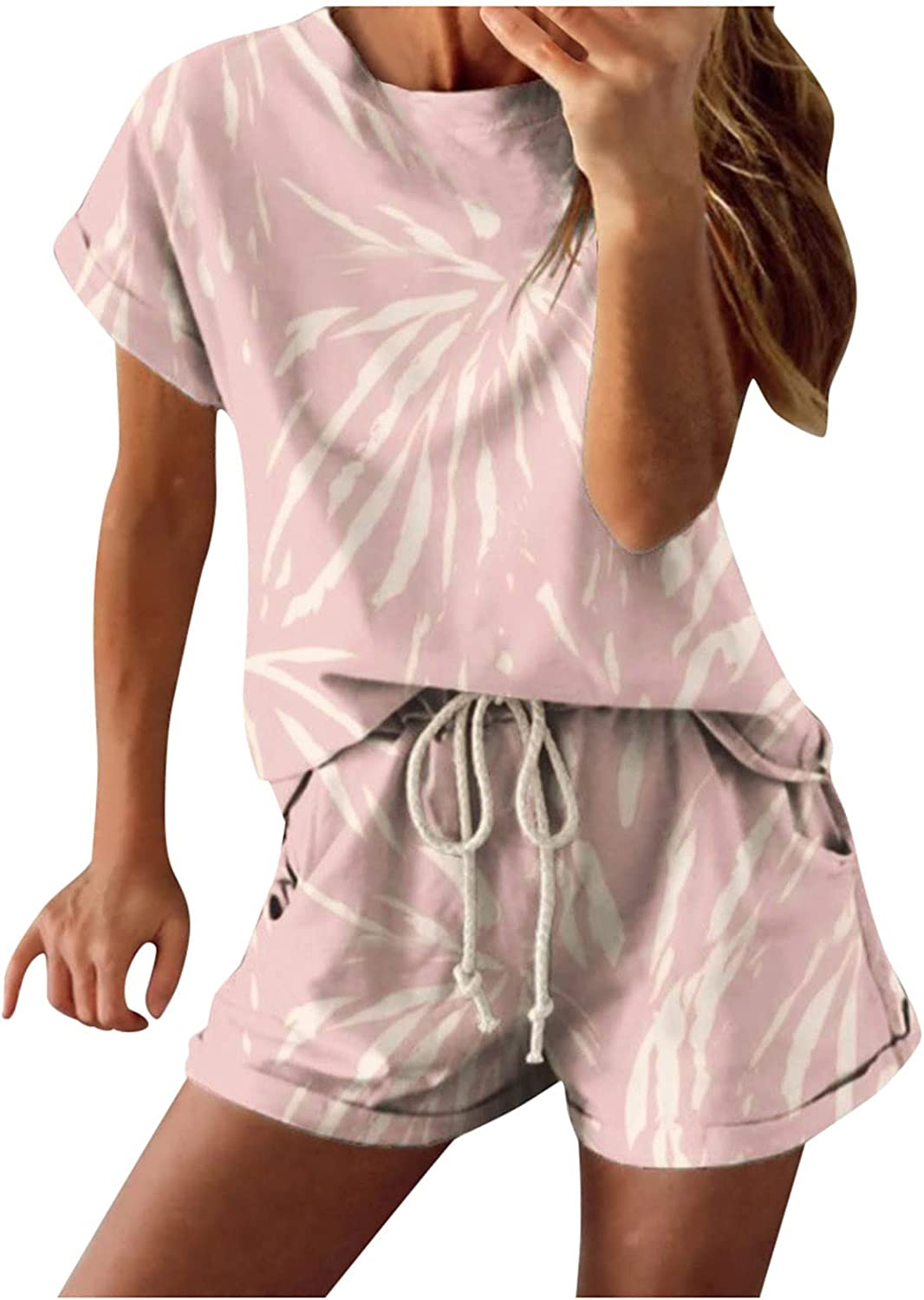 Women Suits Sets, Ladies Print Sleepwear O-Neck Short Sleeved Shorts Sports Leisure Two-Piece Suit