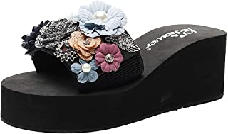 Donsi Women Girls Floral Wedges Bohemian Style Sandals Slippers Beach Shoes Casual Summer Platform Shoes Wedges Flip Flops Outdoor Slippers
