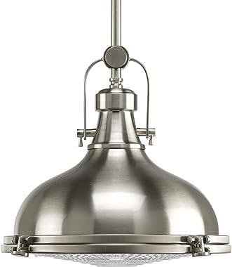 Progress Lighting colección Fresnel - Lámpara colgante de techo (1 luz), Transicional, Níquel cepillado