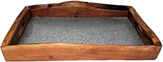 Rustic Serving Tray, Live Edge Wood and Metal, Large 19-inches
