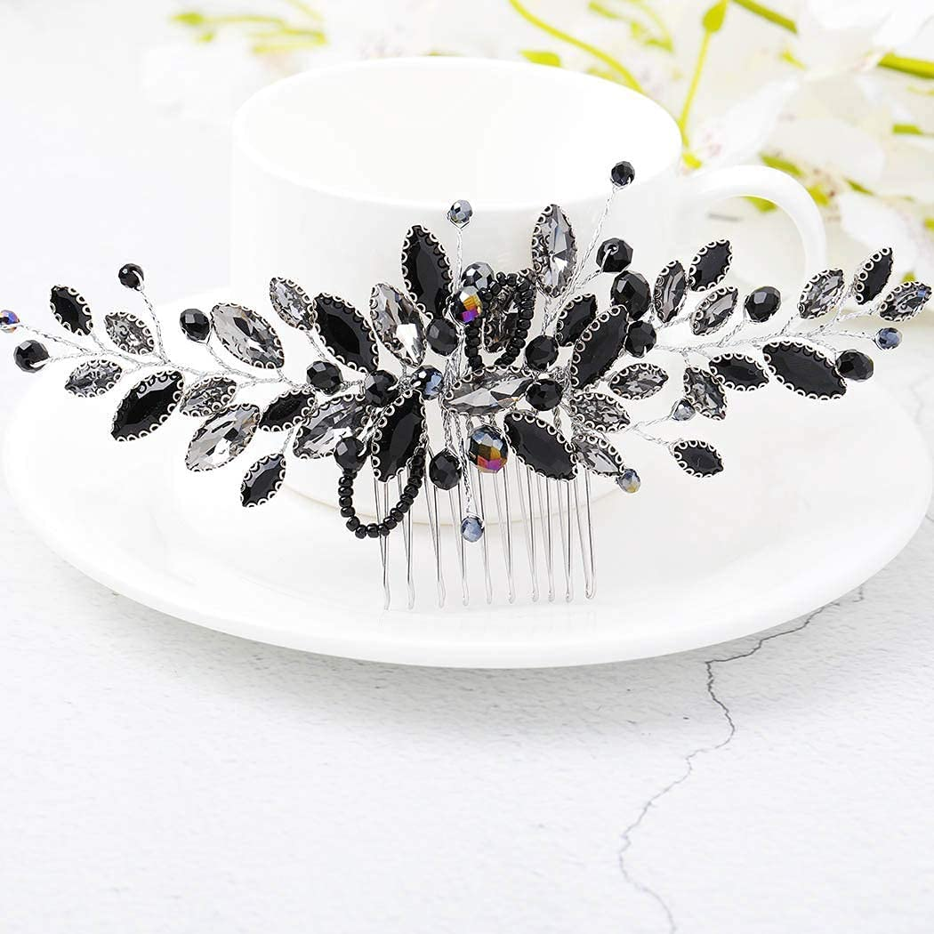 Peines para el pelo de novia con diamantes de imitación plateados, accesorios para el cabello y tocado para las mujeres (negro)