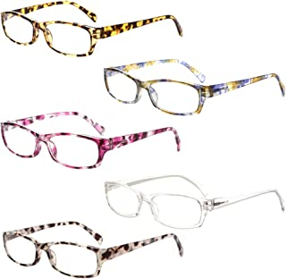 Sponsored Ad - 5-Pack Reading Glasses Blue Light Blocking Anti Eyestrain Computer Reading Glasses for Women and Men Readers