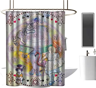 TimBeve Extra Long Shower Curtain in Wonderland,Magical Fantasy World of Adventure Clock Flamingo Cheshire Cat Rabbit Retro,Multi,Eco-Friendly,Bathroom Curtain 54
