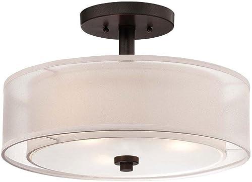 new arrival Minka discount Smoked Iron Parsons Studio Semi-Flushmount discount Ceiling Light online