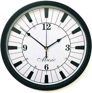 Wall Clock Decor ساعة الحائط الحديثة ملاحظة الموسيقية ساعة الحائط صامتة غير تداعج 12 في الساعة المعدنية الزخرفية على مدار ...