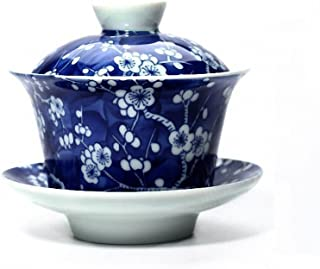 Vilight Chinese Blue and White Gaiwan Porcelain Tea Cup - Gifts for Women Men Mom Sisters 5.6oz