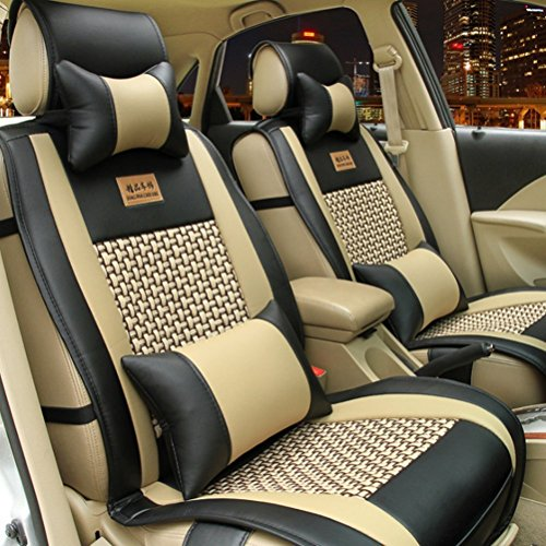 Opall Full Set 10pcs Needlework Pu Leather Front Rear Car Seat Cushion Cover for Dodge All Series Challenger Viper Charger Ram 1500 2500 3500 Dart Diesel Power Wagon Sprinter 5 Seats