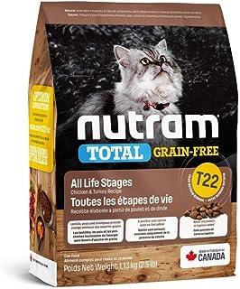 طعام القطط المكون من لحم الدجاج والديك الرومي تي 22 الخالي من الحبوب من نوترام، وزن 1.13 كغم