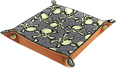 WOSHISHUI Happy Halloween Decorative Jewelry Leather Tray Bedside Snap Buckle Design Dice Holder Storage Tray Box for Key, Ph