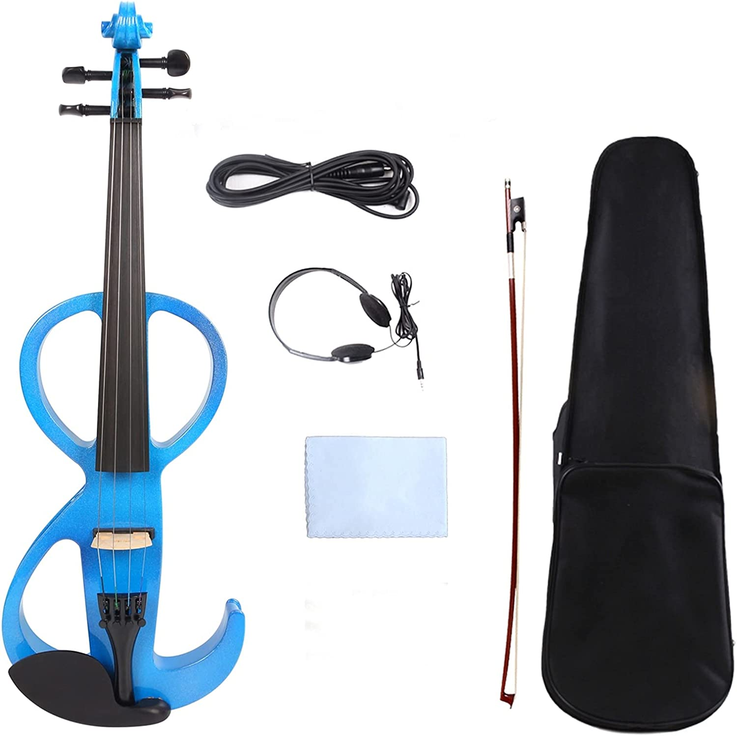 5 ☆ popular Mail order Blue 4 Electric Silent Violin Wood Vi Hand-Made Case+Bow+Cable