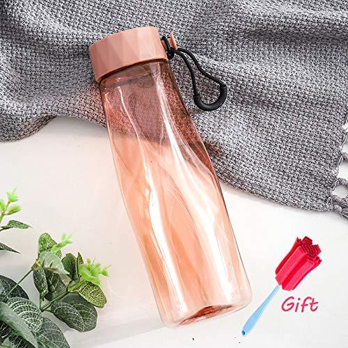 LLDSP 500 ml Creativo Prismático Botella de Agua Deportes A Prueba de Fugas Portátil Plástico Hervidor de Viaje Senderismo Oficina Hervidor Botella de AguaRosa