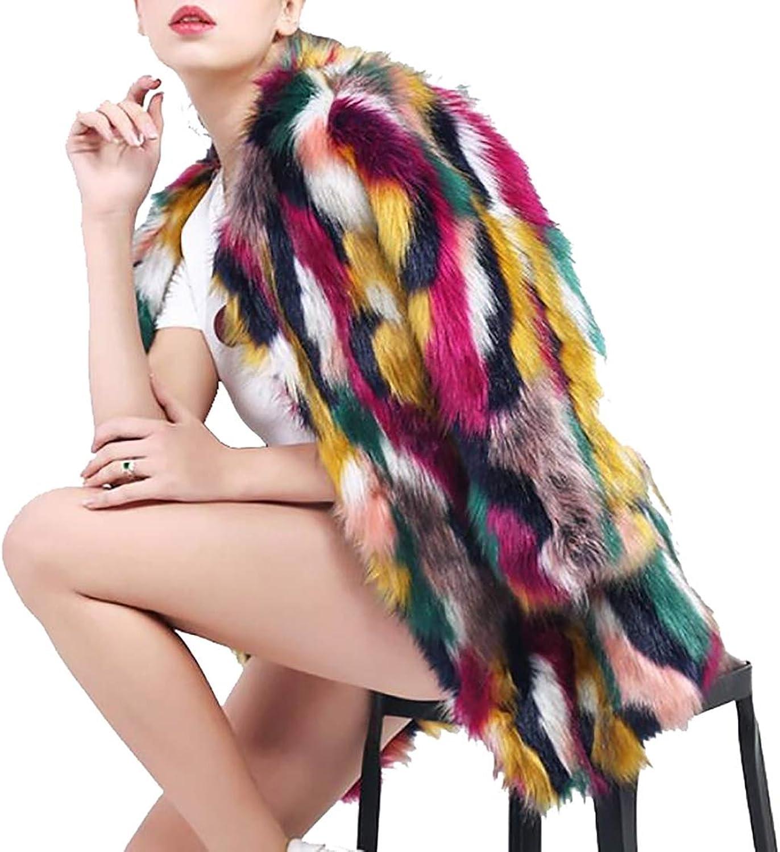 Esast Women Faux Fur Coat Rainbow Winter Outerwear Thick Fur color Jacket