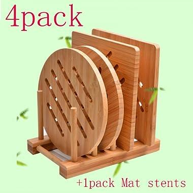Bamboo Trivet Kitchen Bamboo Hot Pads Trivet Natural Bamboo Trivet Mat Set for Hot Dishes/Pot/Bowl/Teapot/Hot Pot Holders 2 square 2 roundness 1 storage rack