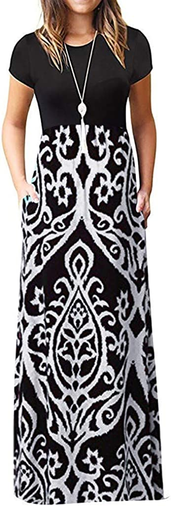 MASZONE Dress for Women Casual Vintage, Floral Printed Short Sleeve Long Maxi Summer Dress O Neck Plus Size Maxi Dress
