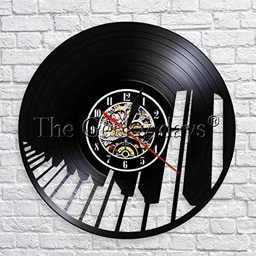 txyang Instrumento Musical Vinilos Decorativos para Pared Diseño Moderno Piano Relojes Decorativos para Pared en 3D Mejor Regalo para Pianista Decoración Moderna de Pared de 12 Pulgadas