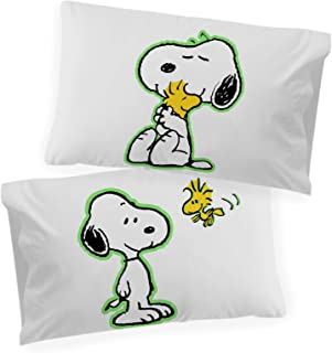 Jay Franco Peanuts Snoopy Glow in The Dark 2 Pack Reversible Pillowcases Features Woodstock - Double-Sided Kids Super Soft...