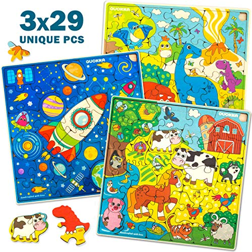 Wooden Jigsaw Puzzles for Kids Ages 4-8, 3 Pack Puzzles, Children and Toddlers Games for Learning Dinosaurs Space Animals, Almost 100 Pieces Set, Educational Wood Toys for Boys and Girls 3-5 Year Olds