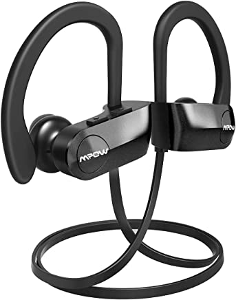 Mpow D7 [Upgraded] Bluetooth Headphones 10H Playtime, IPX7 Waterproof Wireless Sports Earbuds w/HD Stereo Sound & CVC 6.0 Noise Cancelling Mic, Bluetooth Earphones for Running, Workout, Black