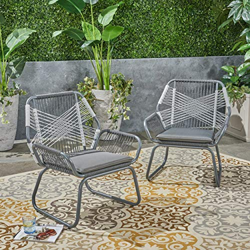 Contemporary Home Living Set of 2 Gray and White Hand Crafted Outdoor Patio Club Chairs 33.25'