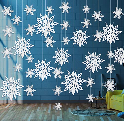 24 Pieces Hanging Snowflake Decorations Ornaments 3D Large White Paper Snowflakes Garland Snow Flakes for Frozen Christmas Tree Wedding Holiday New Year Room Winter Wonderland Party Decorations Gifts