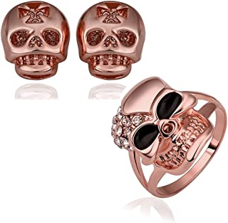 NYKKOLA moda europea placcato oro 18K Skull zircone cristallo orecchini Ring Jewelry Set