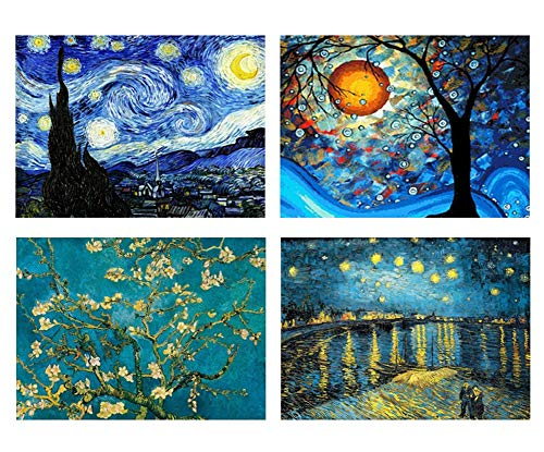 4 Packs 5D DIY Diamond Painting Set Full Drill Diamond Painting Starry Night Wall Stickers for Living Room(40X30CM/16X12inch)