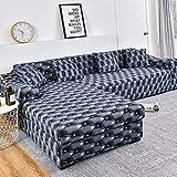 WXQY Funda de sofá de Esquina para Sala de Estar, Funda de sofá elástica, Toalla de sofá elástica, Funda de sillón Chaise Longue en Forma de L, A12, 3 plazas