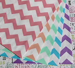 Bakers Bling Rainbow Chevron Stripe Treat Bags and Stickers, Pink, Coral, Mint, Blue, Purple, Medium Party Favor Bags, Set of 48 Bags and 48 Stickers