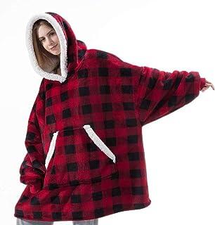 Sweat Plaid, Sweat à Capuche Couverture Pull Capuchon Sherpa Peluche à Manches TV Plaids Couvertures Adulte Femme Homme Un...