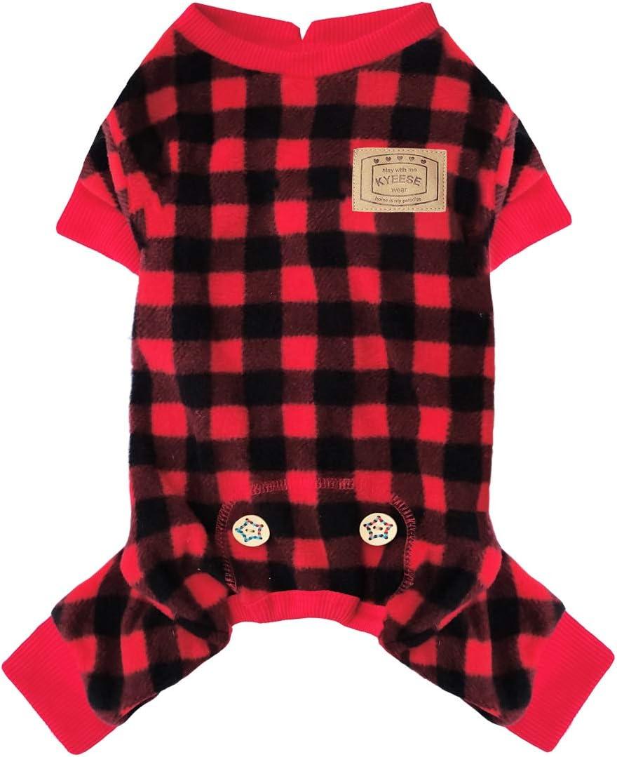 KYEESE Dog Pajamas Max 47% OFF Finally resale start Plaid Red Onesie Pajama Check Pet Buffalo