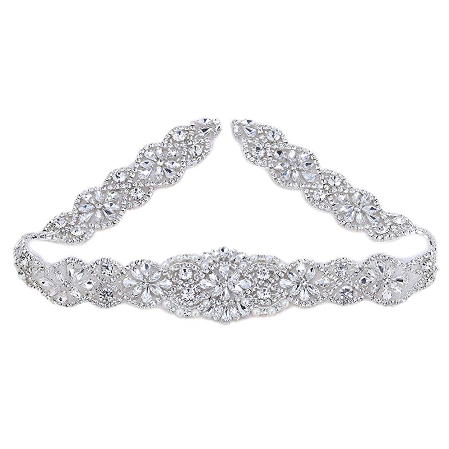 XINFANGXIU Wedding Bridal Sash Applique Crystal Belt Applique Rhinestone Applique Pearls Beaded Sewn Iron on for Formal Gown Dress (Silver)