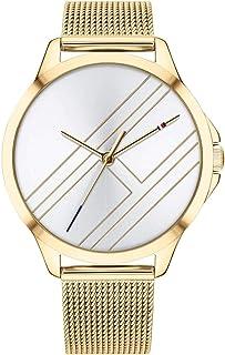 ساعة بيتون بسوار بطلاء ذهبي ومينا فضية للنساء من تومي هيلفيجر - 1781962