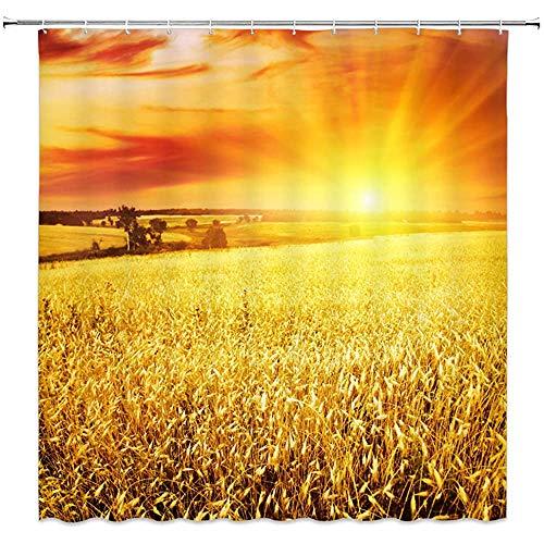 wobuzhidaoshamingzi Goldener Weizen & Sonne Duschvorhänge Schöne Landschaft Dekor Wasserdicht liefert Hintergr& Duschvorhang