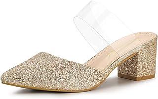 Allegra K Women's Point Toe Glitter Clear Block Heel Mules