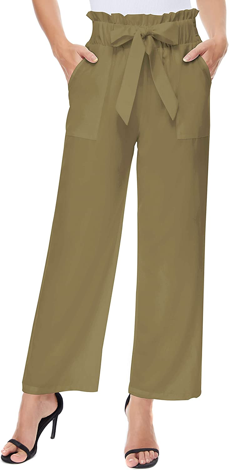 BCOFUI Womens Wide Leg Pants Paper Bag Flowy Baggy High Waisted Trousers with Belt