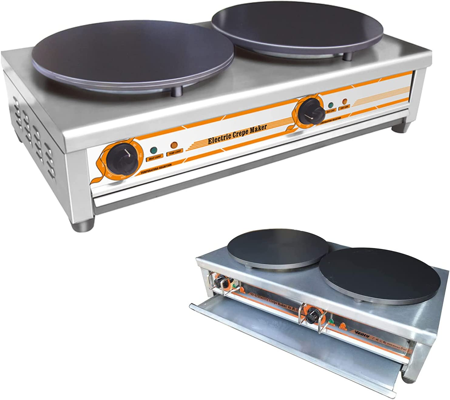 INTBUYING Branded goods 220V 2.75KW+2.75KW Electric Maker 15.75inch Dou Crepe Cheap mail order specialty store
