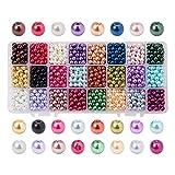 pandahall Elite & reg Umwelt gefärbt Glas Perlen Runde Perlen, Gemischte Farbe, 6mm, Bohrung: 1mm;...